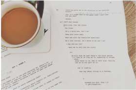 cup of tea and script